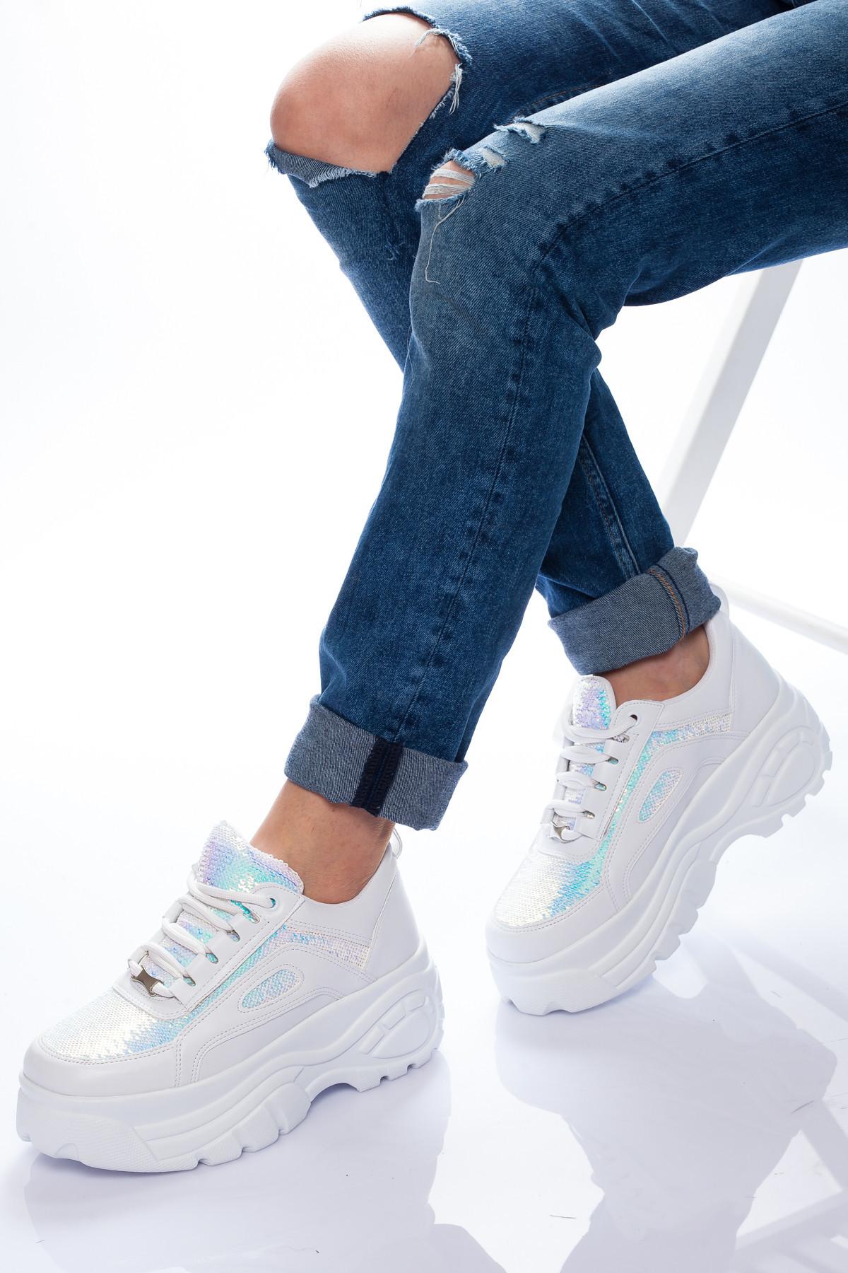 Beyaz Payetli Buffalo Kadın Spor Ayakkabı