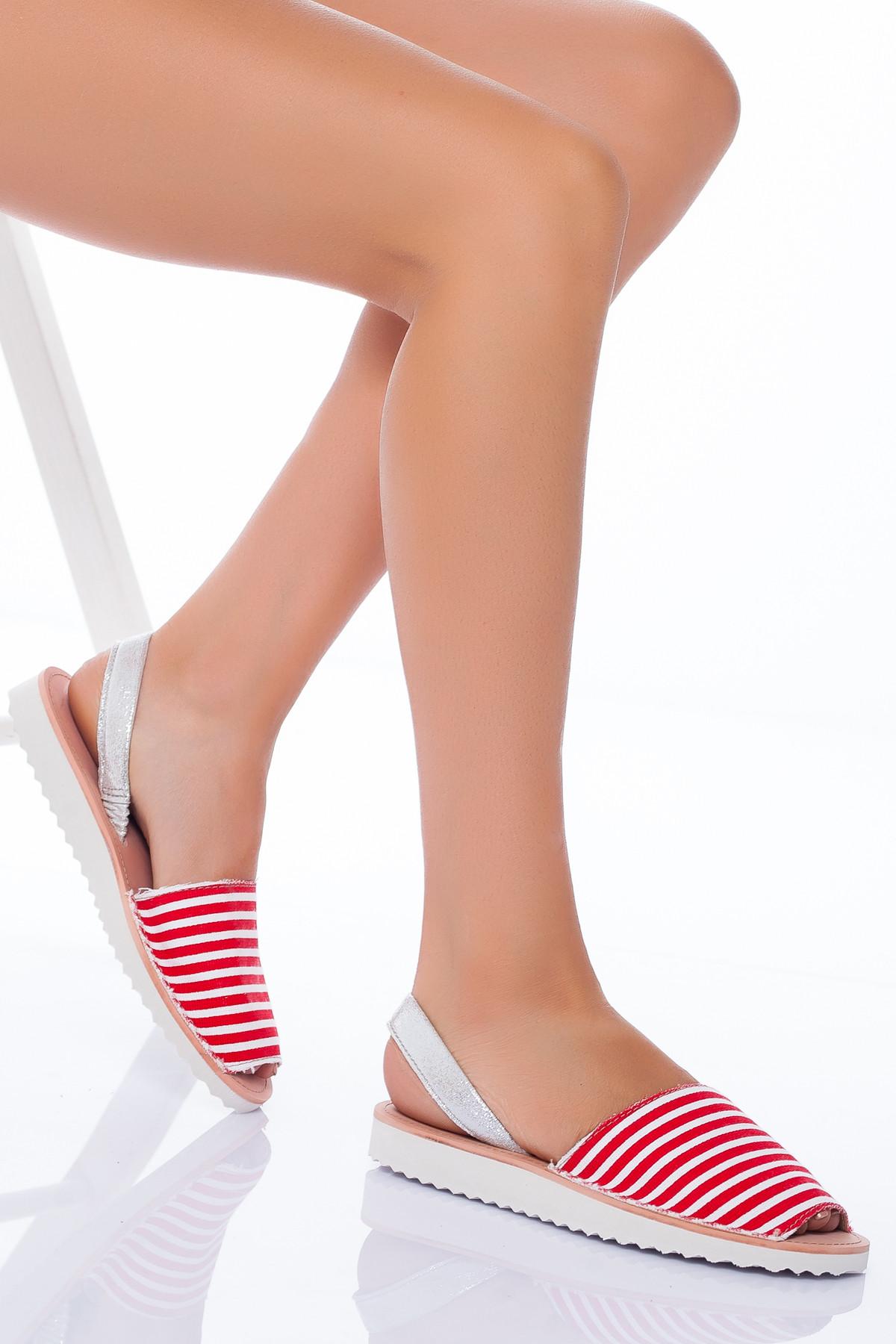 Kırmızı Beyaz Niki Niki Sandalet