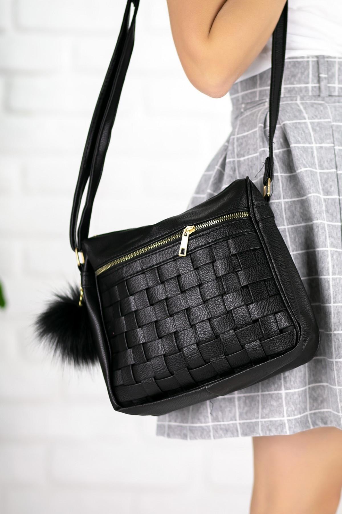 Marilda Siyah Cilt Desenli Ponponlu Çanta