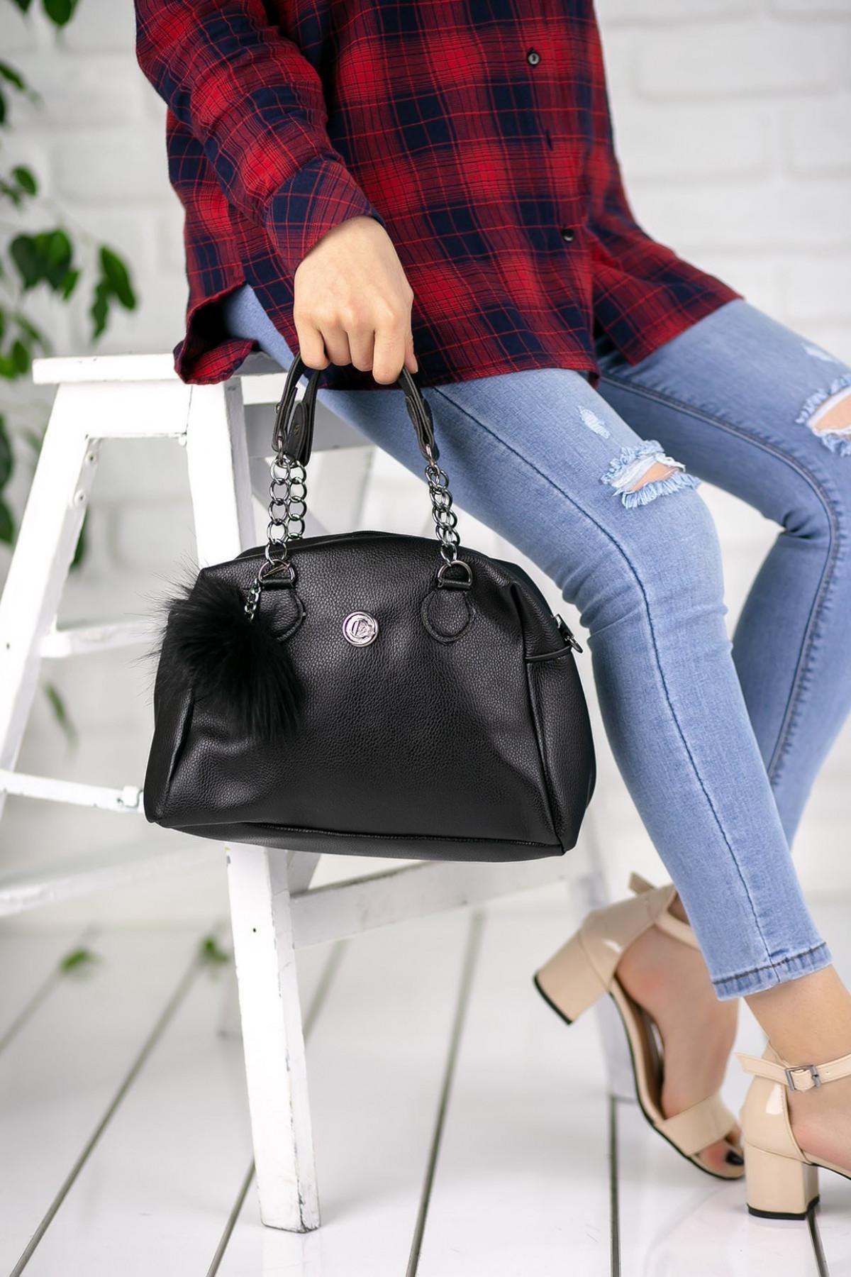 Marilda Siyah Cilt Ponponlu Çanta