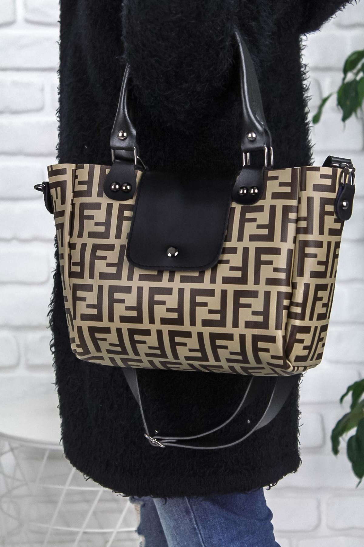 Mome Bej Cilt Kahverengi Detaylı Çanta