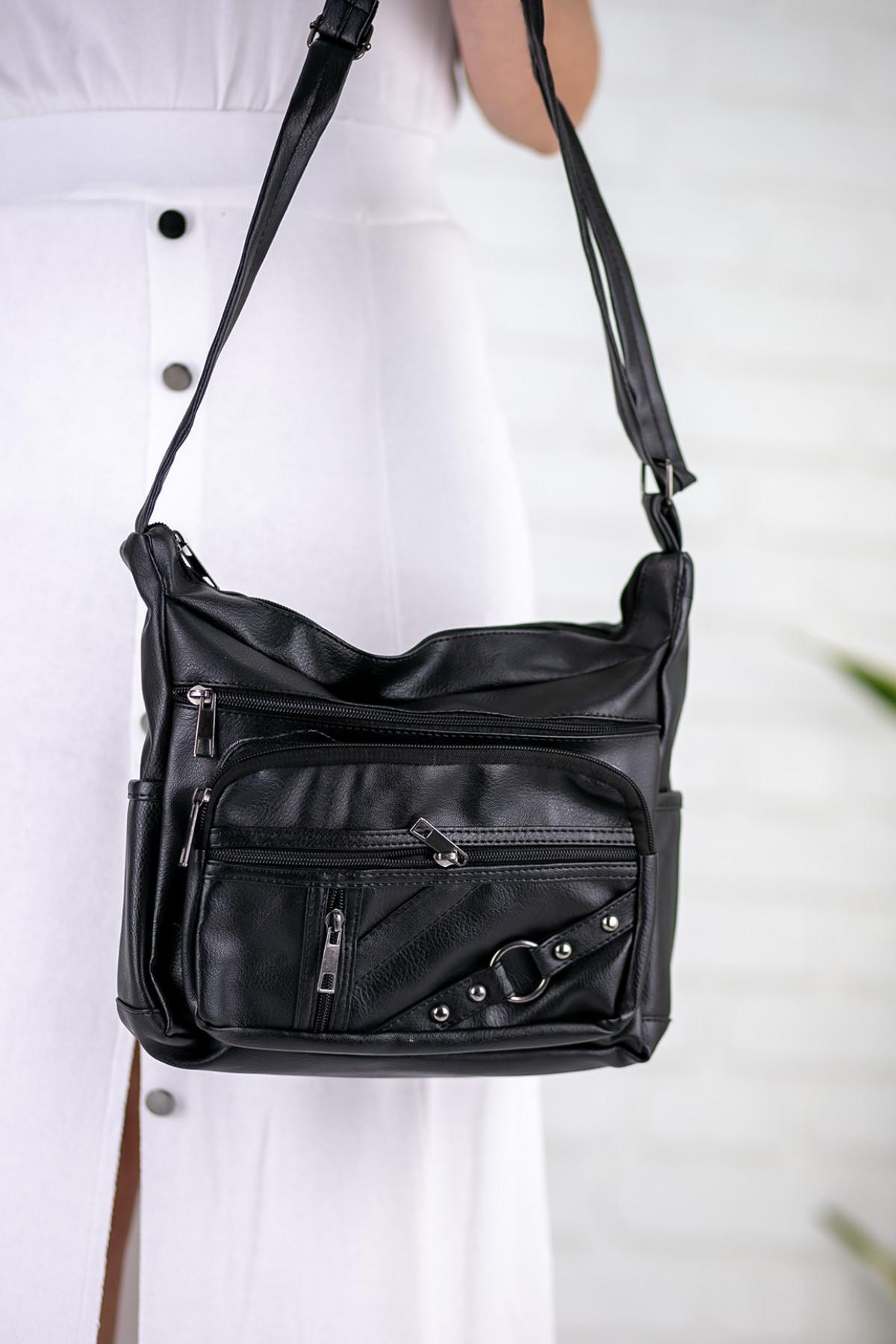 Onesta Siyah Cilt Halka Detaylı Çanta
