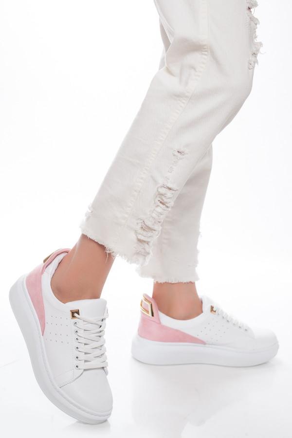 Altın Tokalı Pudra Kadın Spor Ayakkabı