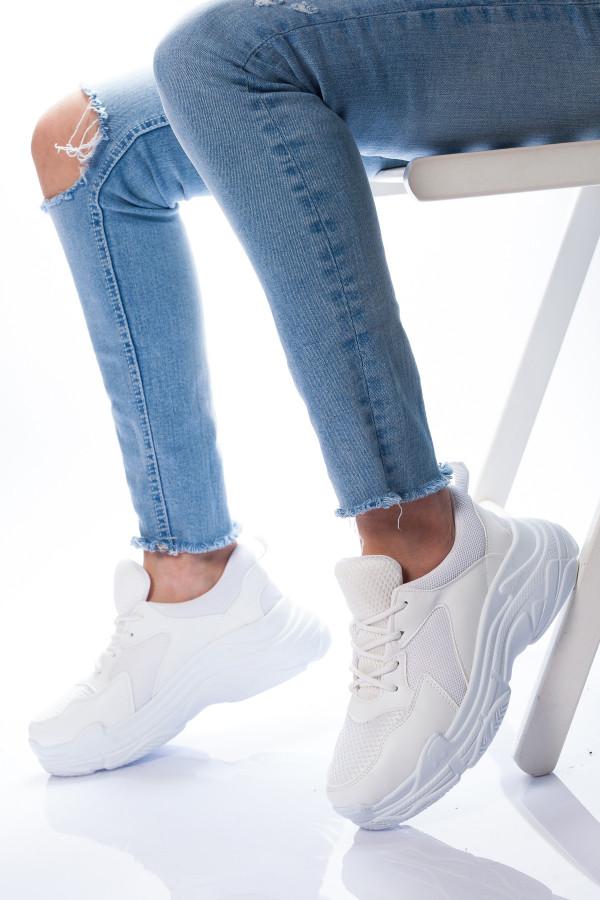 Beyaz Yuksek Taban Kadin Spor Ayakkabi Hermod