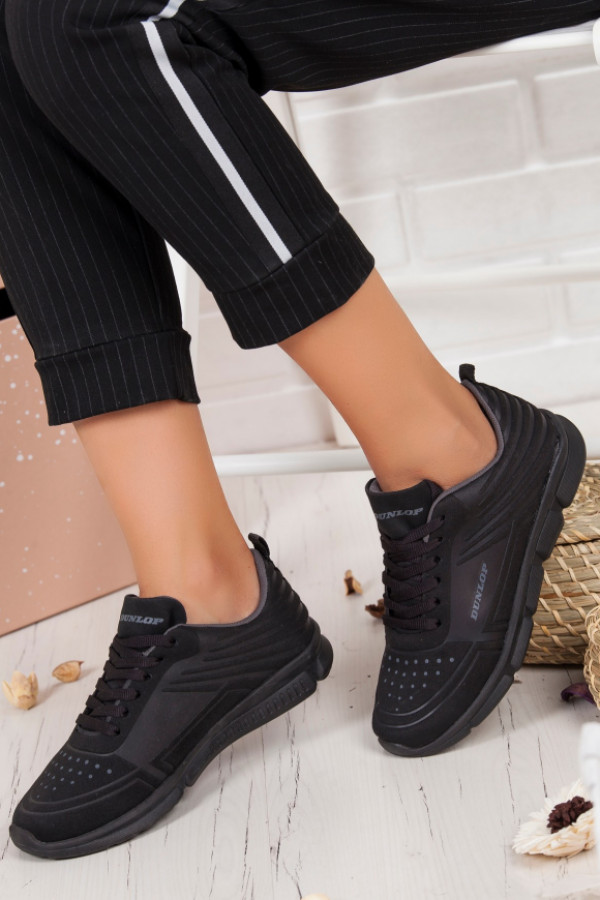 a0a67eb85bfb4 Grece Siyah Cilt Bağcıklı Bayan Spor Ayakkabı - HERMOD