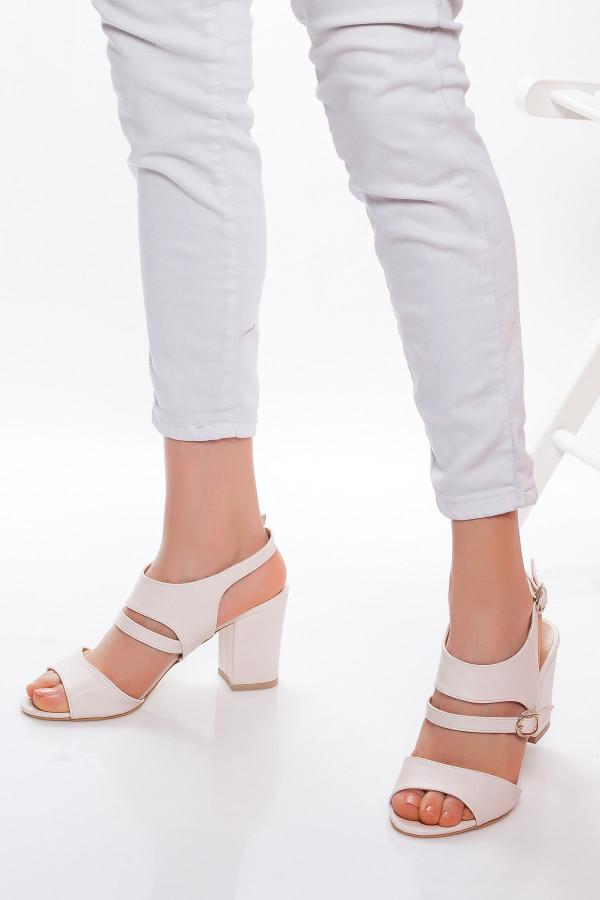 Krem Rengi Cilt Topuklu Ayakkabı