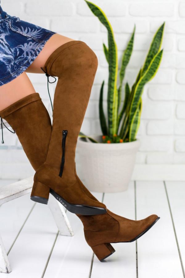 Mancuso Taba Süet Çorap Çizme