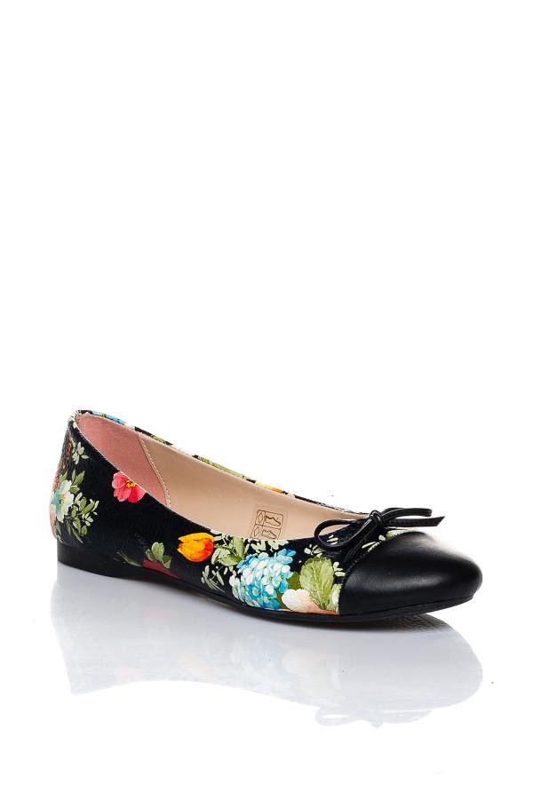 Siyah Çiçek Desenli Babet