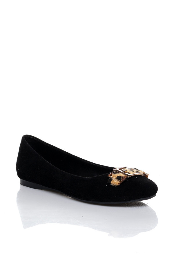 Siyah Leopar Tokalı Babet