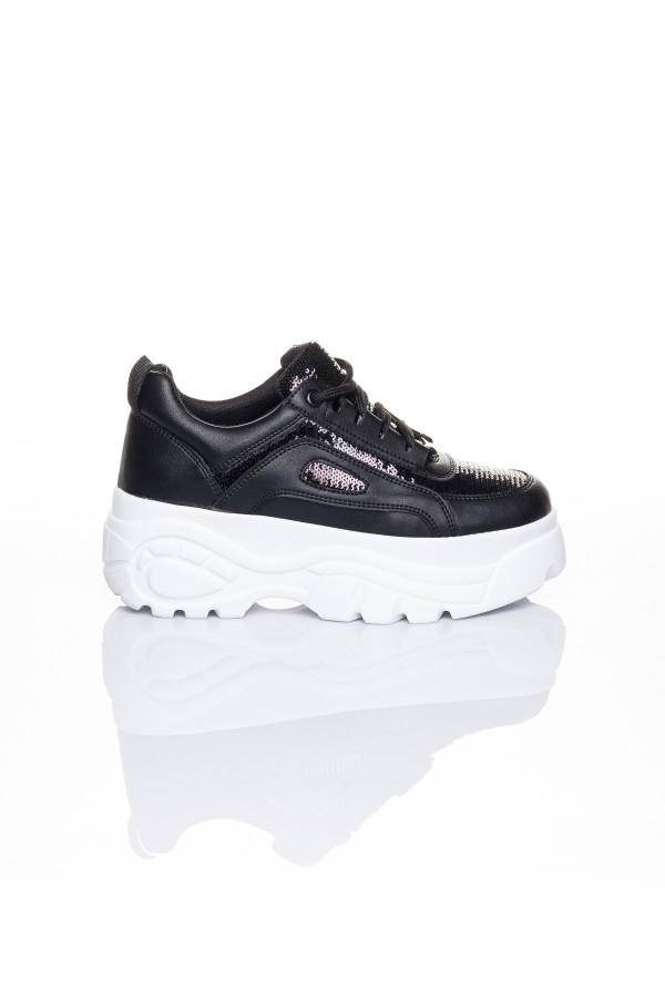 Siyah Payetli Buffalo Kadın Spor Ayakkabı