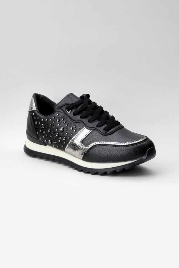 Siyah Taşlı Kadın Spor Ayakkabı