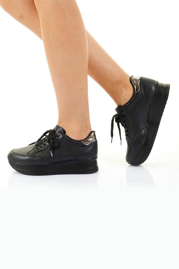 Siyah Yüksek Kadın Spor Ayakkabı