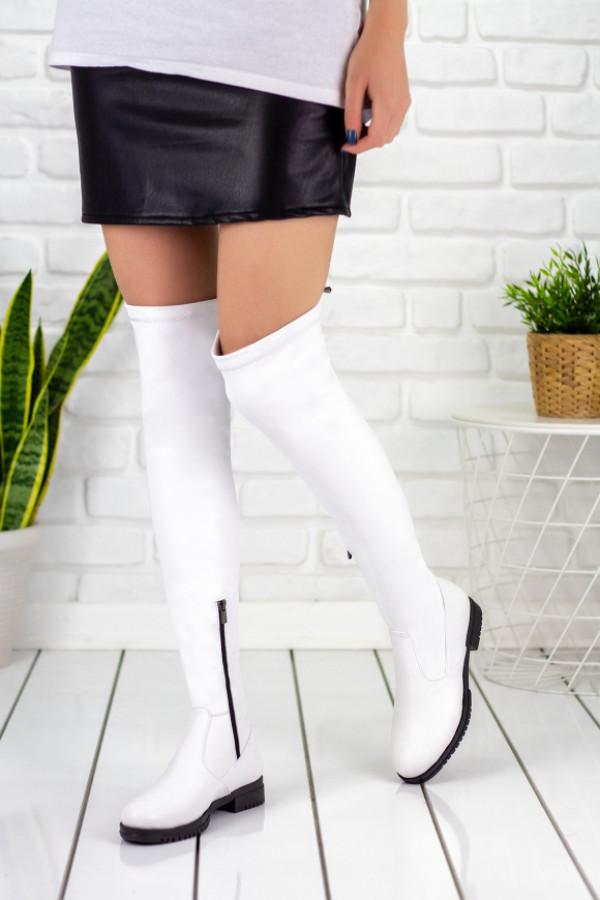 Vissia Beyaz Cilt Çorap Çizme