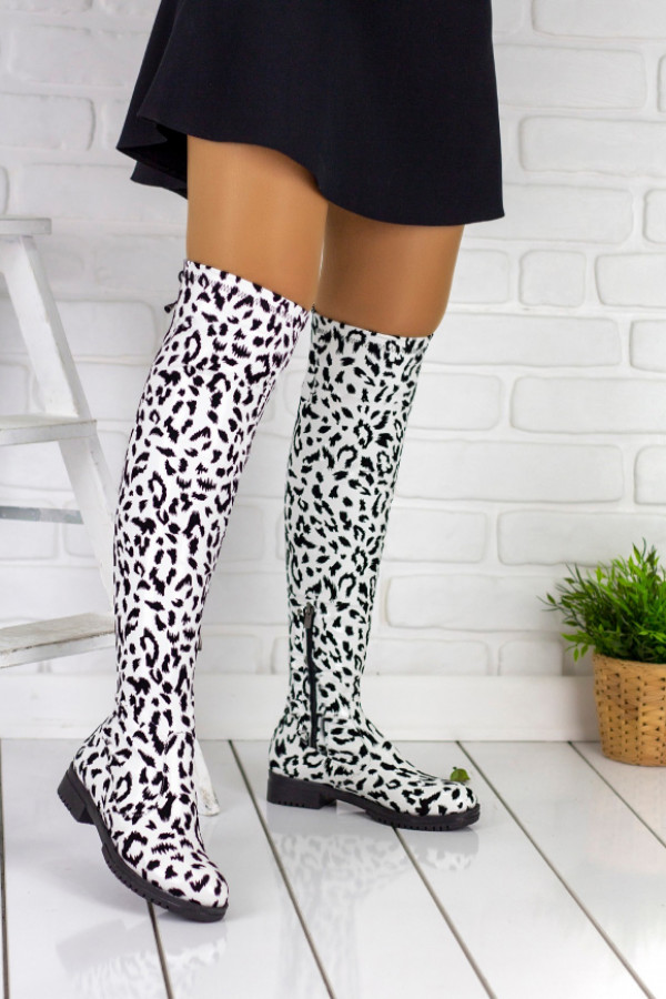 Vissia Beyaz Leopar Çorap Çizme