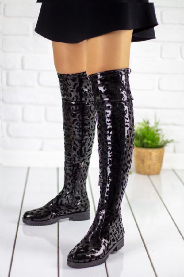 Vissia Siyah Leopar Çorap Çizme