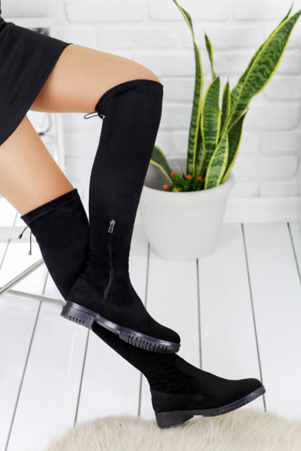 Vissia Siyah Süet Çorap Çizme