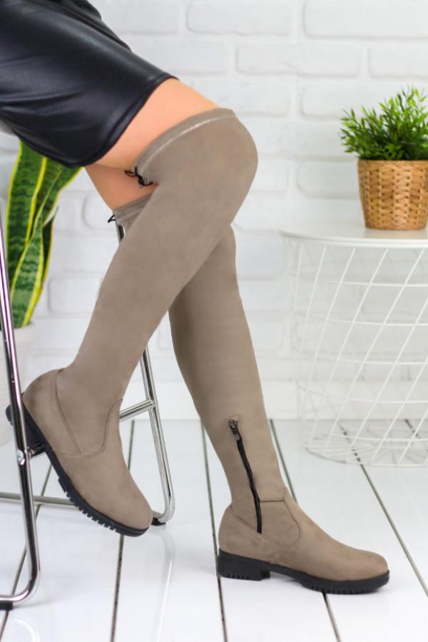 Vissia Vizon Süet Çorap Çizme