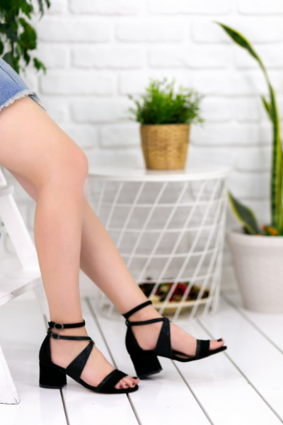Alberta Siyah Süet Topuklu Ayakkabı