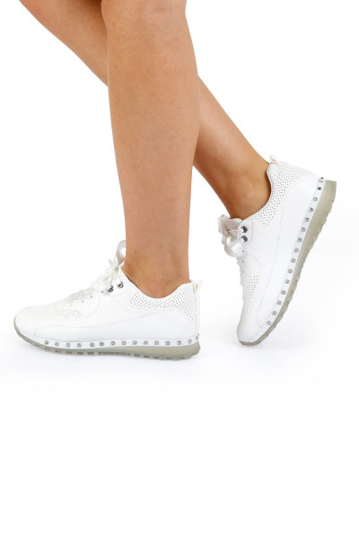 Beyaz Troklu Kadın Spor Ayakkabı