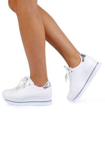 Beyaz Yüksek Kadın Spor Ayakkabı