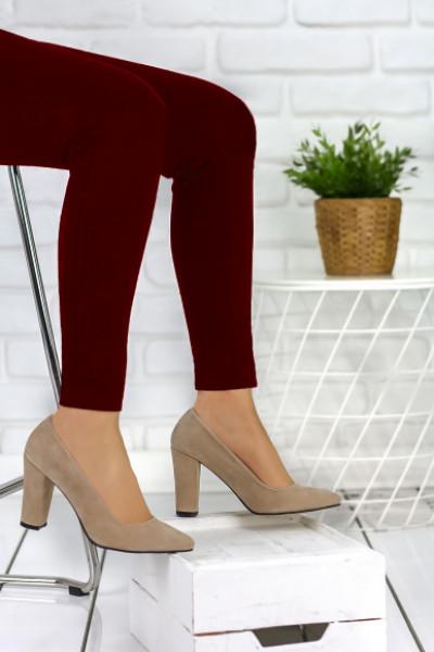 Elvia Vizon Süet Topuklu Ayakkabı