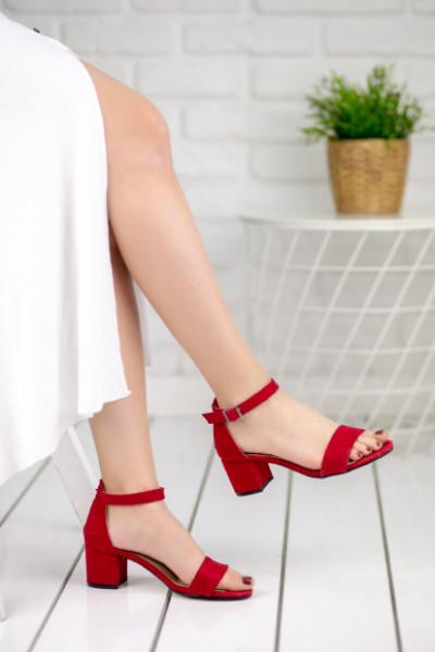 Gwen Kırmızı Süet Topuklu Ayakkabı