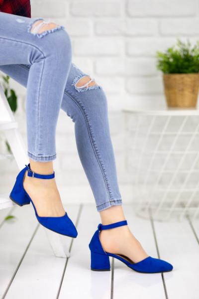 Kinsey Saks Mavisi Süet Topuklu Ayakkabı