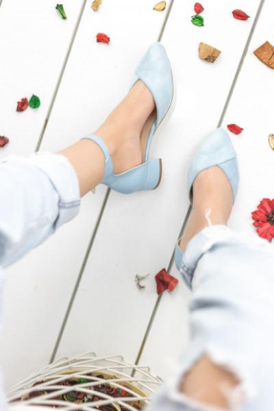 Larisa Bebe Mavisi Süet Topuklu Ayakkabı