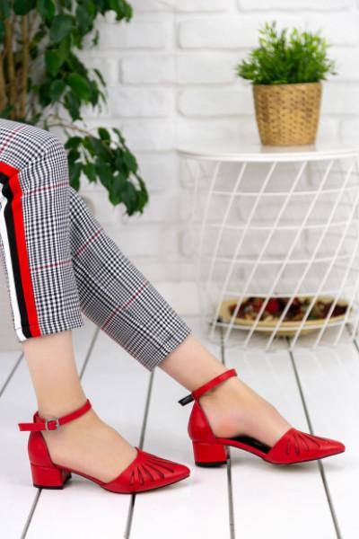 Nera Kırmızı Cilt Topuklu Ayakkabı