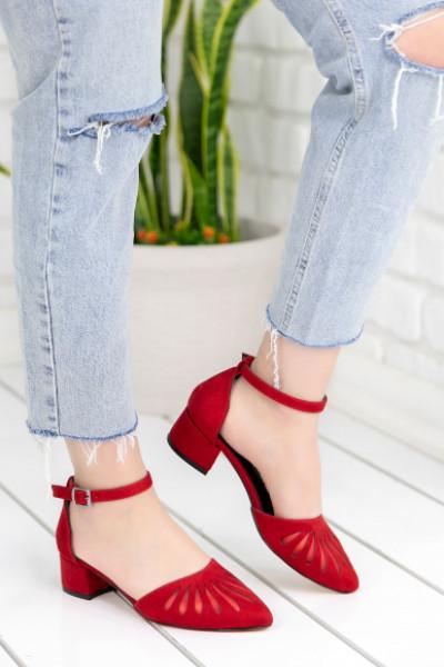 Nera Kırmızı Süet Topuklu Ayakkabı