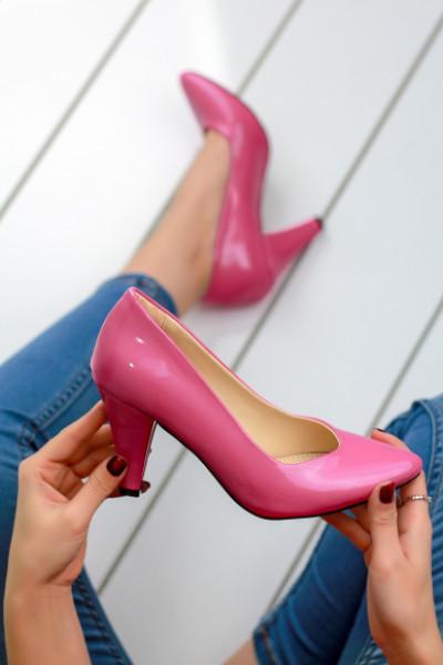 Sergino Pembe Rugan Topuklu Bayan Ayakkabı