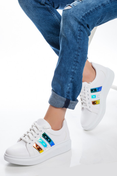 Şerit Hologramlı Kadın Spor Ayakkabı