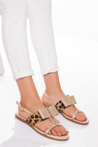 Altın Sarısı Leoparlı Sandalet