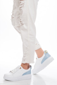 Altın Tokalı Bebe Mavisi Kadın Spor Ayakkabı