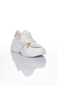 Anna Sarı Hologramlı Beyaz Kadın Spor Ayakkabı