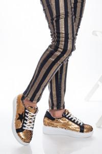 Gold Payetli Kadın Spor Ayakkabı
