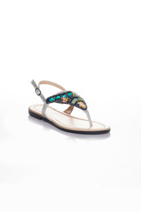 Gümüş Rengi Parmak Arası Sandalet