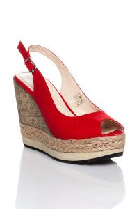 Kırmızı Dolgu Topuklu Sandalet