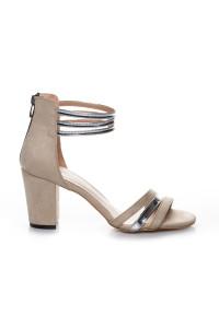 Krem Rengi Süet Topuklu Ayakkabı