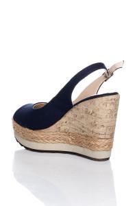 Lacivert Dolgu Topuklu Sandalet
