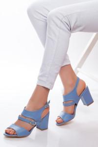 Mavi Cilt Topuklu Ayakkabı