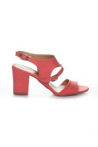 Mercan Rengi Cilt Topuklu Ayakkabı