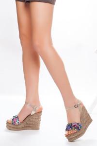 Renkli Dolgu Topuklu Sandalet