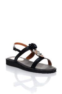 Siyah Çiçekli Sandalet