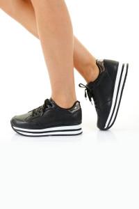 Sandy Siyah Beyaz Ortopedik Bayan Spor Ayakkabı