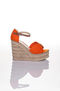 Turuncu Dolgu Topuklu Sandalet