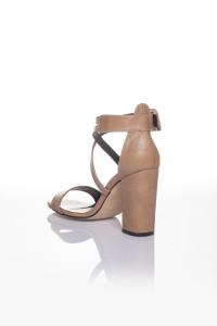 Vizon Cilt Çapraz Bağlı Topuklu Ayakkabı