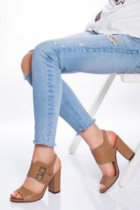 Vizon Cilt Kemerli Topuklu Ayakkabı