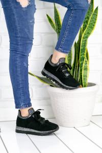 Wissa Siyah Ortopedik Streçli Bayan Spor Ayakkabı